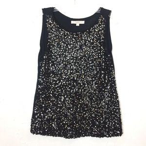 LOFT Black Sequined Tank Top Small